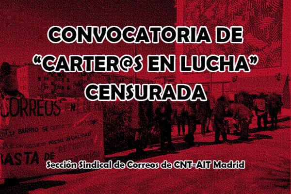 "Censura en redes a la convocatoria de ""Carter@s en Lucha"""