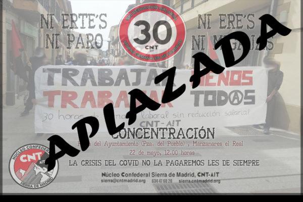 """Nueva concentración de la campaña """"Trabajar menos, trabajar todxs"""". APLAZADA"""