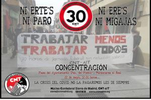 """Nueva concentración de la campaña """"Trabajar menos, trabajar todxs"""". 22 de mayo, 12.00 horas"""