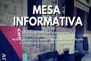 Mesa informativa en Bustarviejo. 19 de septiembre a las 12.00 horas